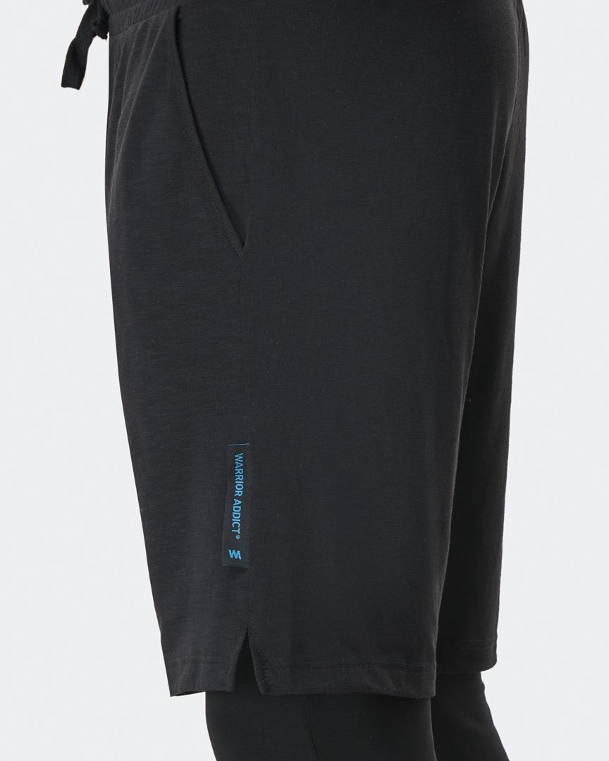 warrior addict mens yoga pants in black anti gravity detail shot