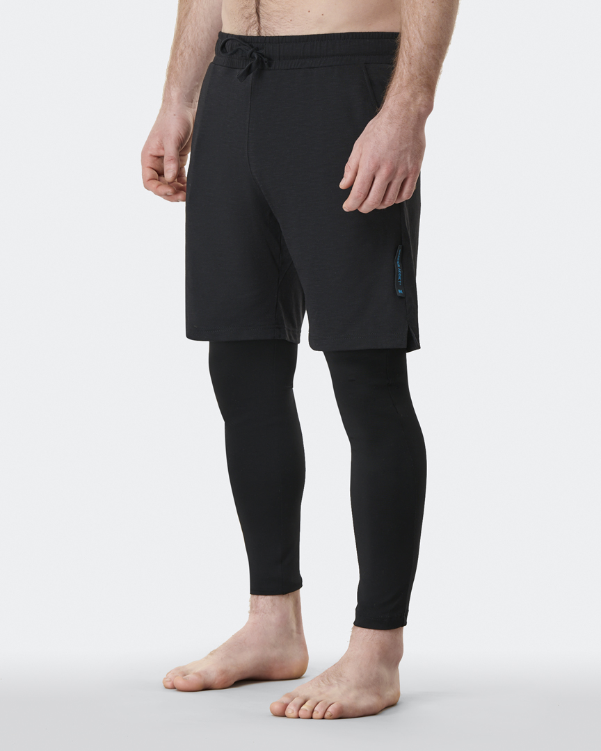 warrior addict mens yoga pants black anti gravity pants side model shot