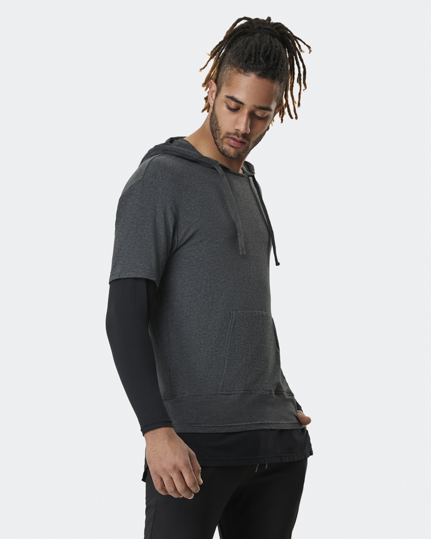 Jacob Mellish wears Warrior addicts mens lightweight inversion hoodie two in one with black under and grey top
