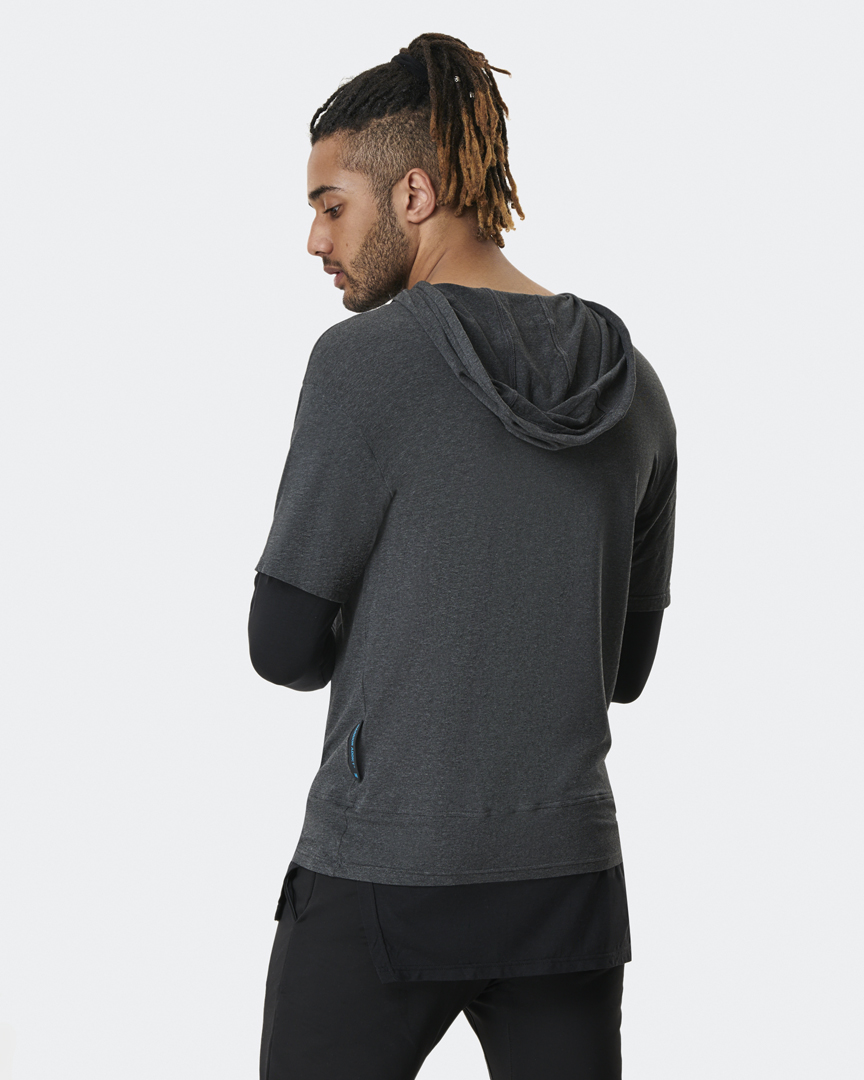 warrior addict inversion hoodie in grey and black light weight back shot
