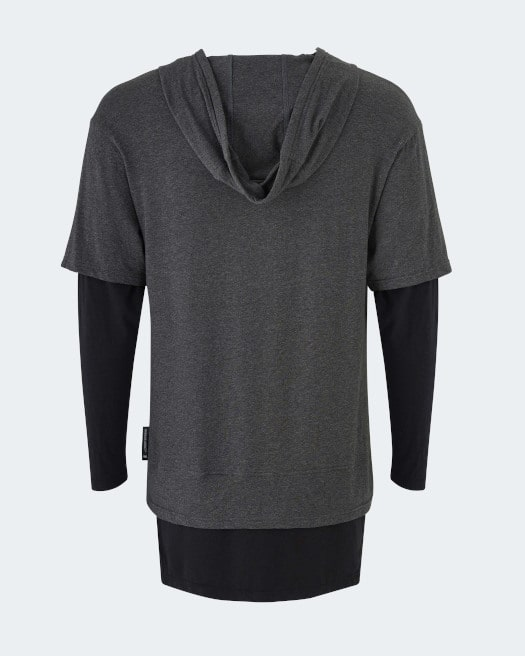 Warrior addict mens lightweight inversion hoodie two in one with black under and grey top back view