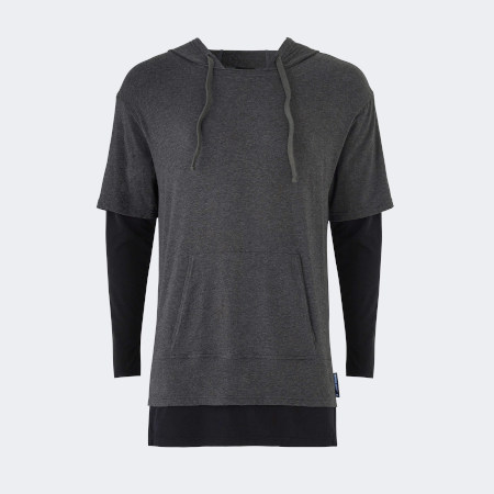 Warrior addict mens lightweight inversion hoodie two in one with black under and grey top front view