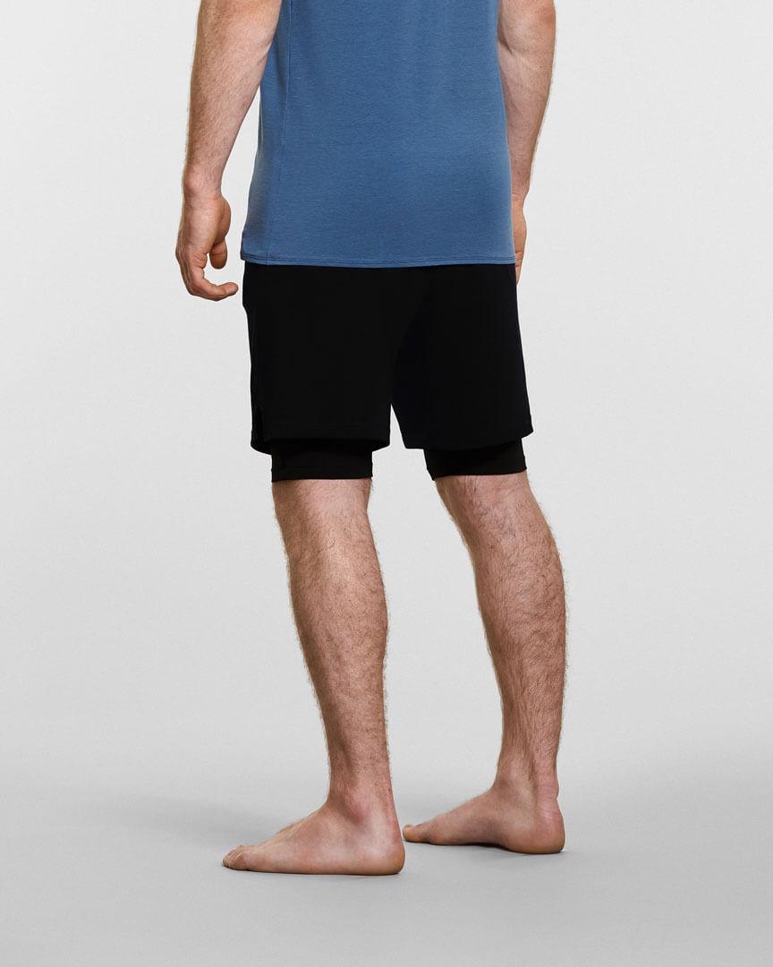 mens yoga anti gravity shorts in black back view