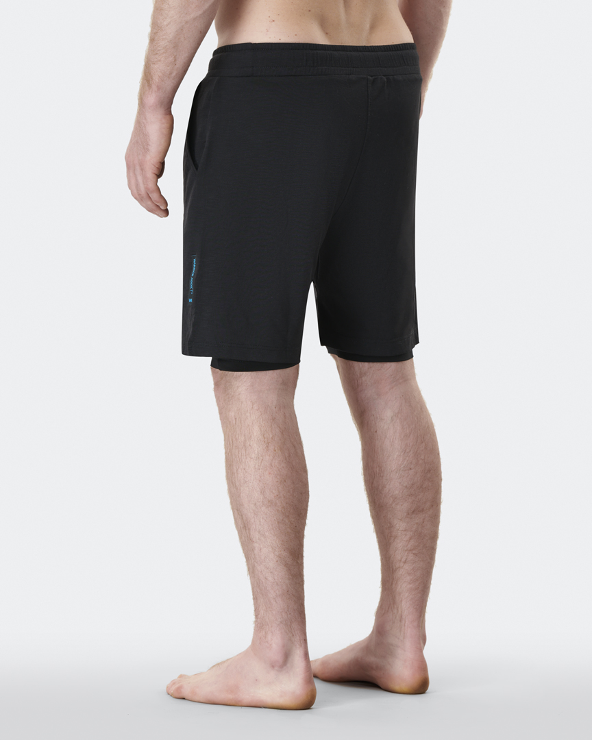 warrior addict mens yoga shorts anti gravity in black with under layer back shot