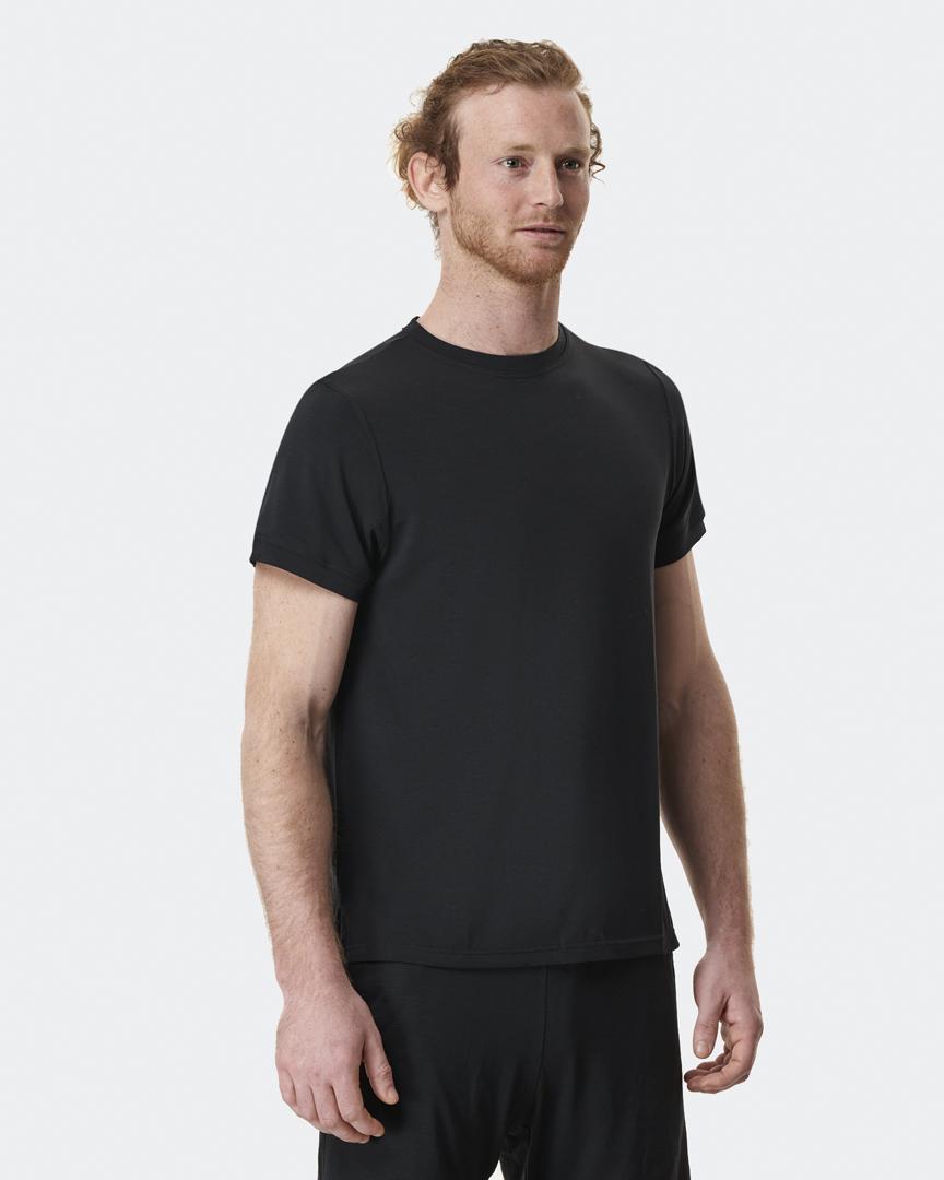warrior addict mens yoga top performance tee in black front model shot