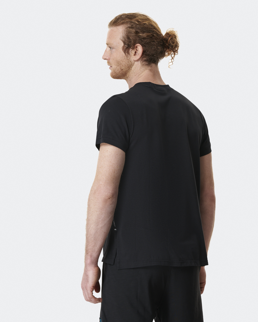 warrior addict mens yoga top performance tee black back model shot