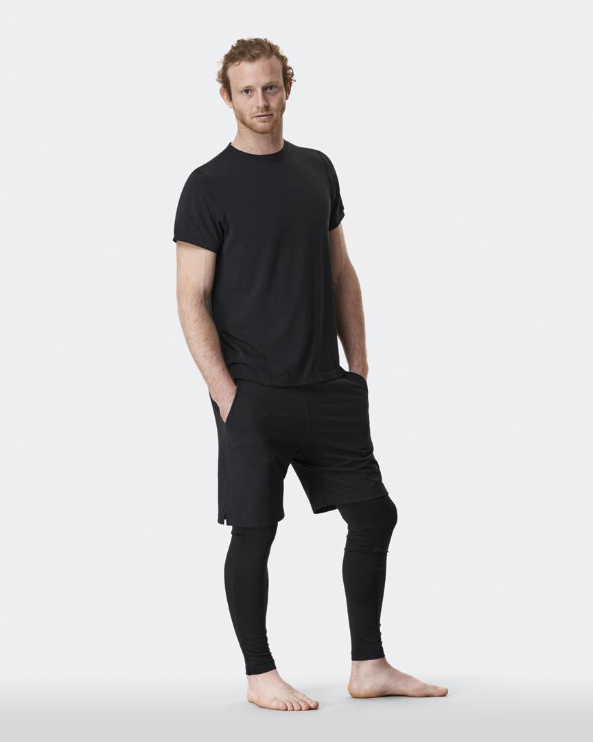 warrior addict mens yoga top performance tee black full model shot