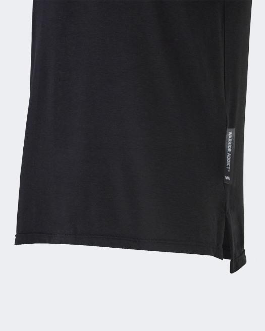 Warrior addict black mens yoga performance t-shirt detail