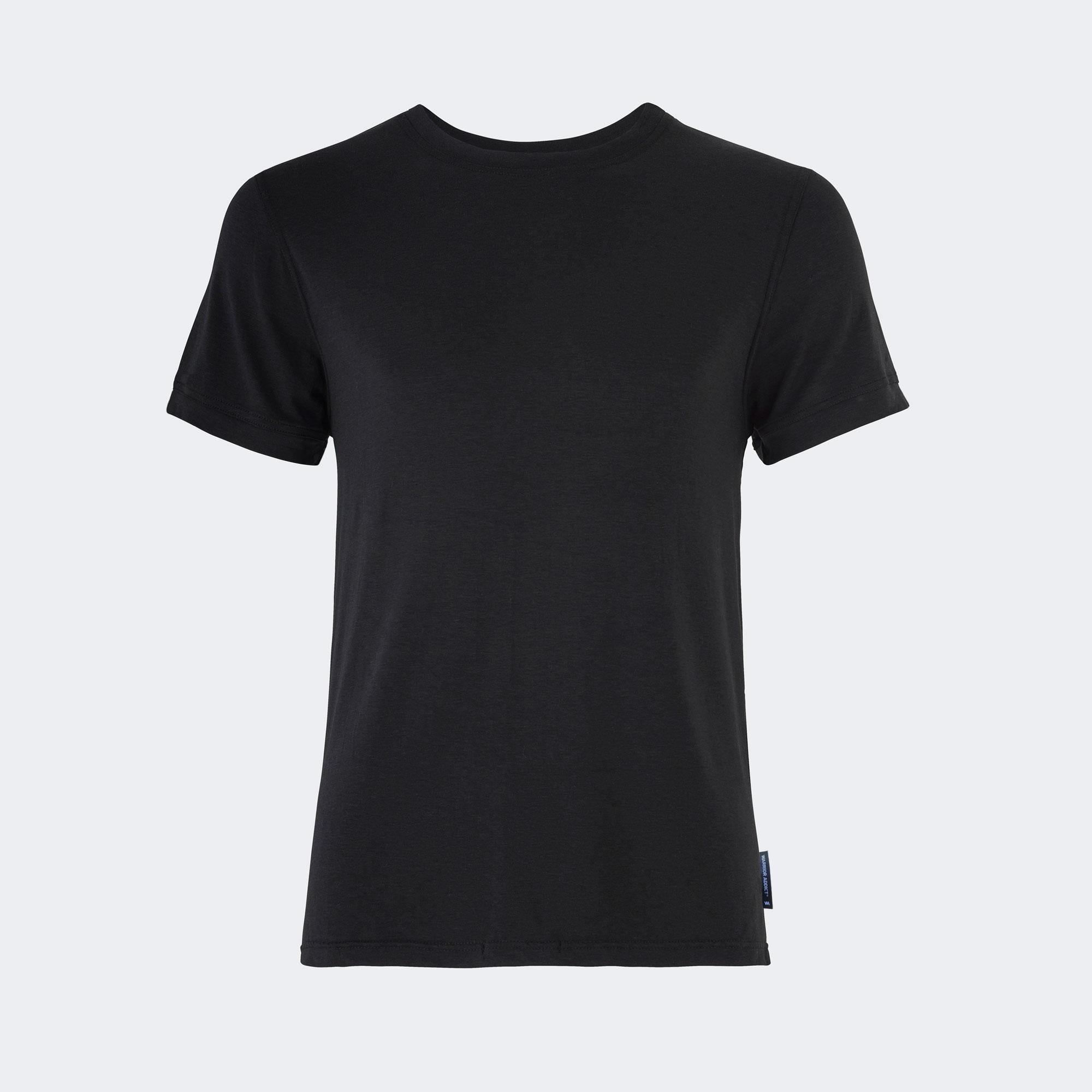 Warrior addict black mens yoga performance t-shirt front view