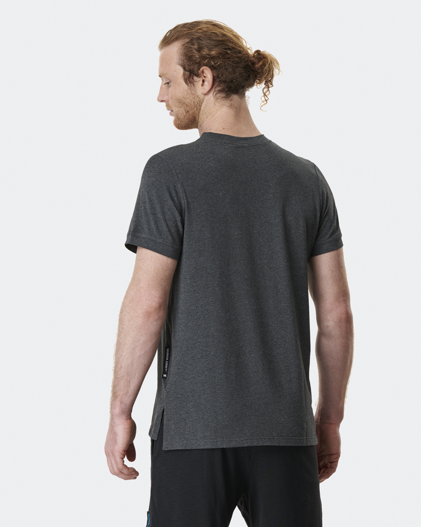 warrior addict mens yoga top performance tee grey back model shot