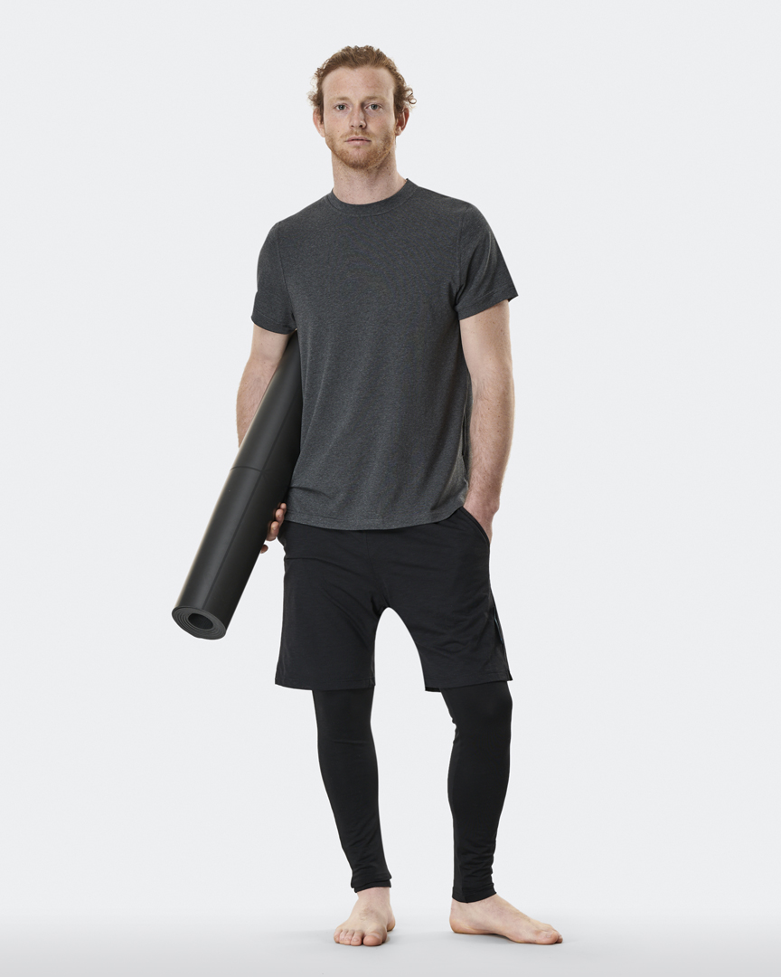 warrior addict mens yoga top performance tee grey full body model shot