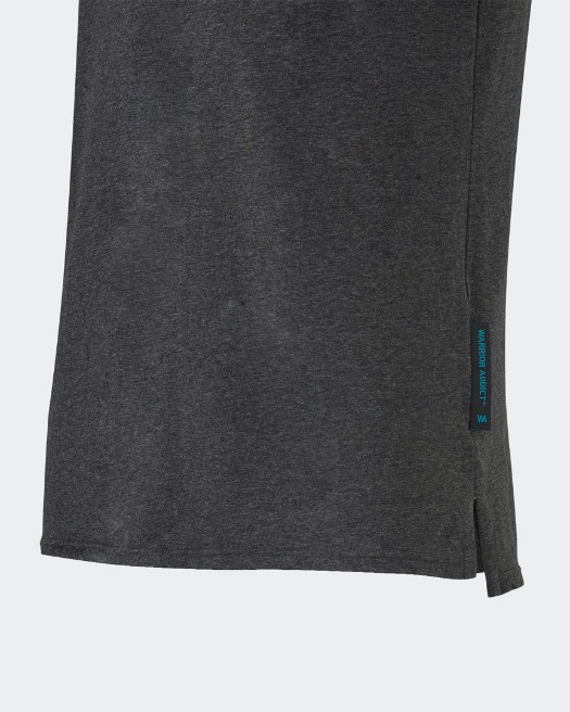 Warrior addict grey mens yoga performance t-shirt detail