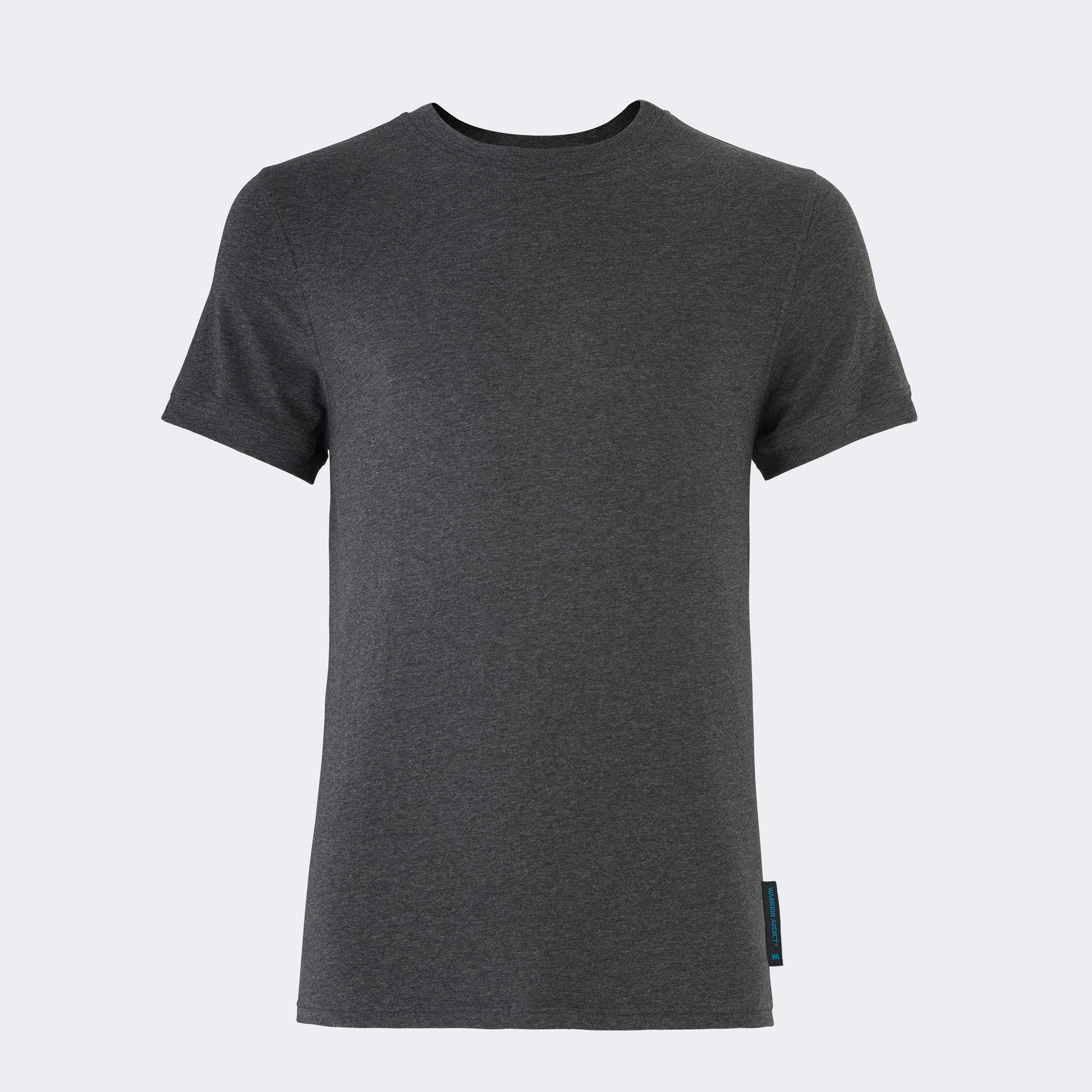 Warrior addict grey mens yoga performance t-shirt front view