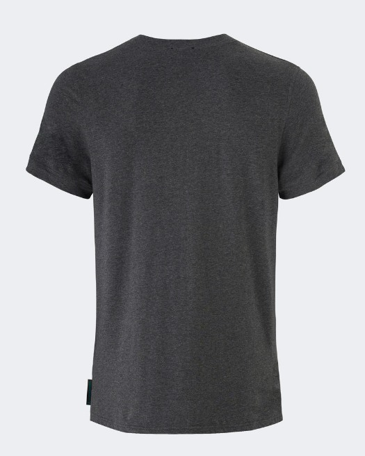 Warrior addict grey mens yoga performance t-shirt back view