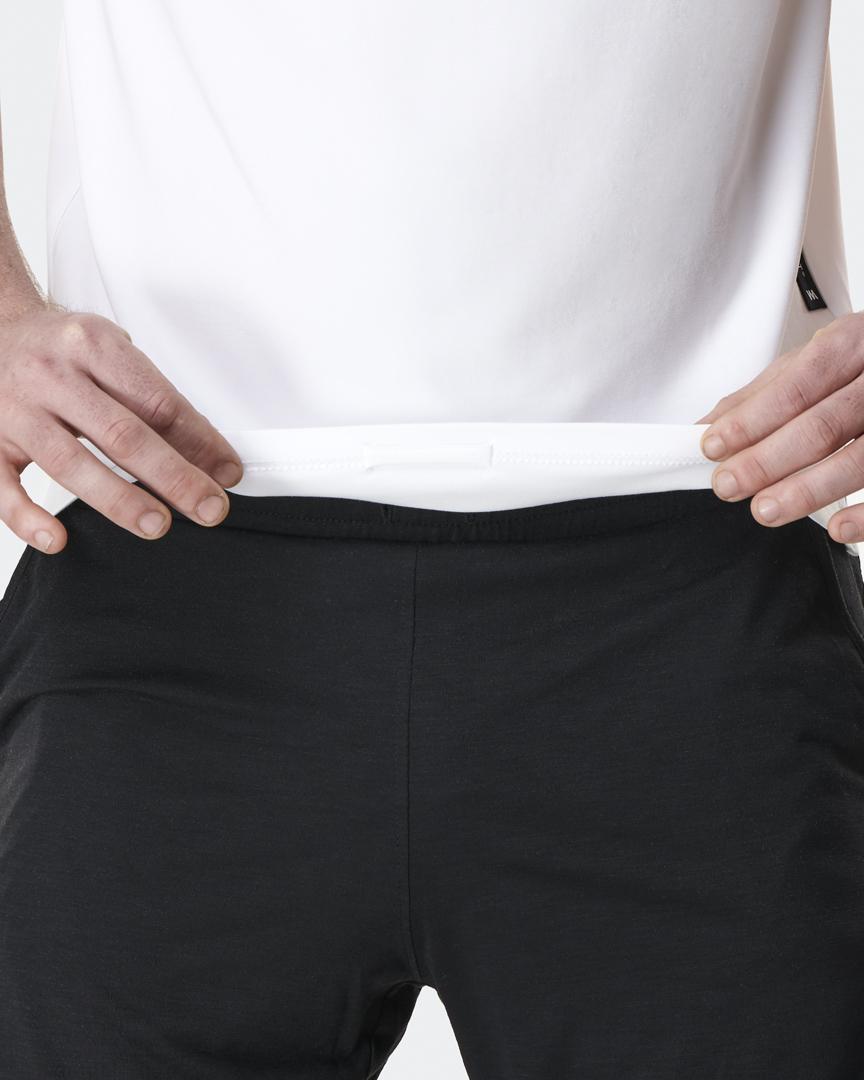 warrior addict mens yoga top performance tee white detail of hidden loop