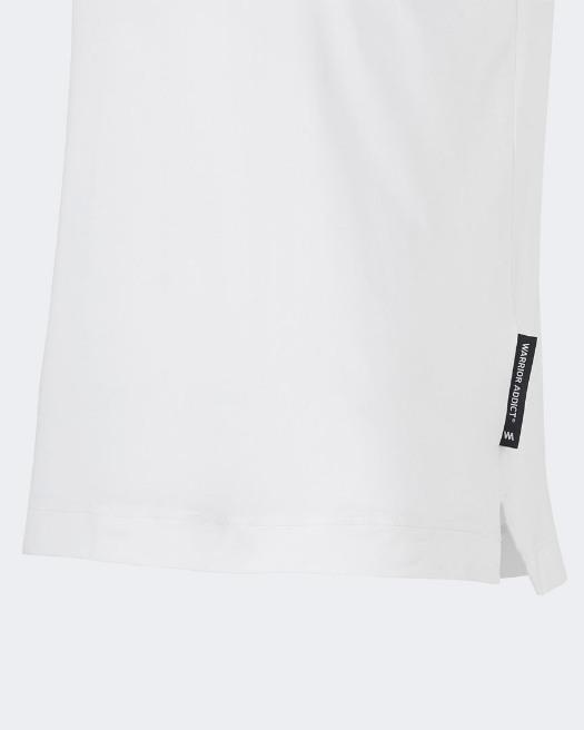 Warrior addict white mens yoga performance t-shirt detail