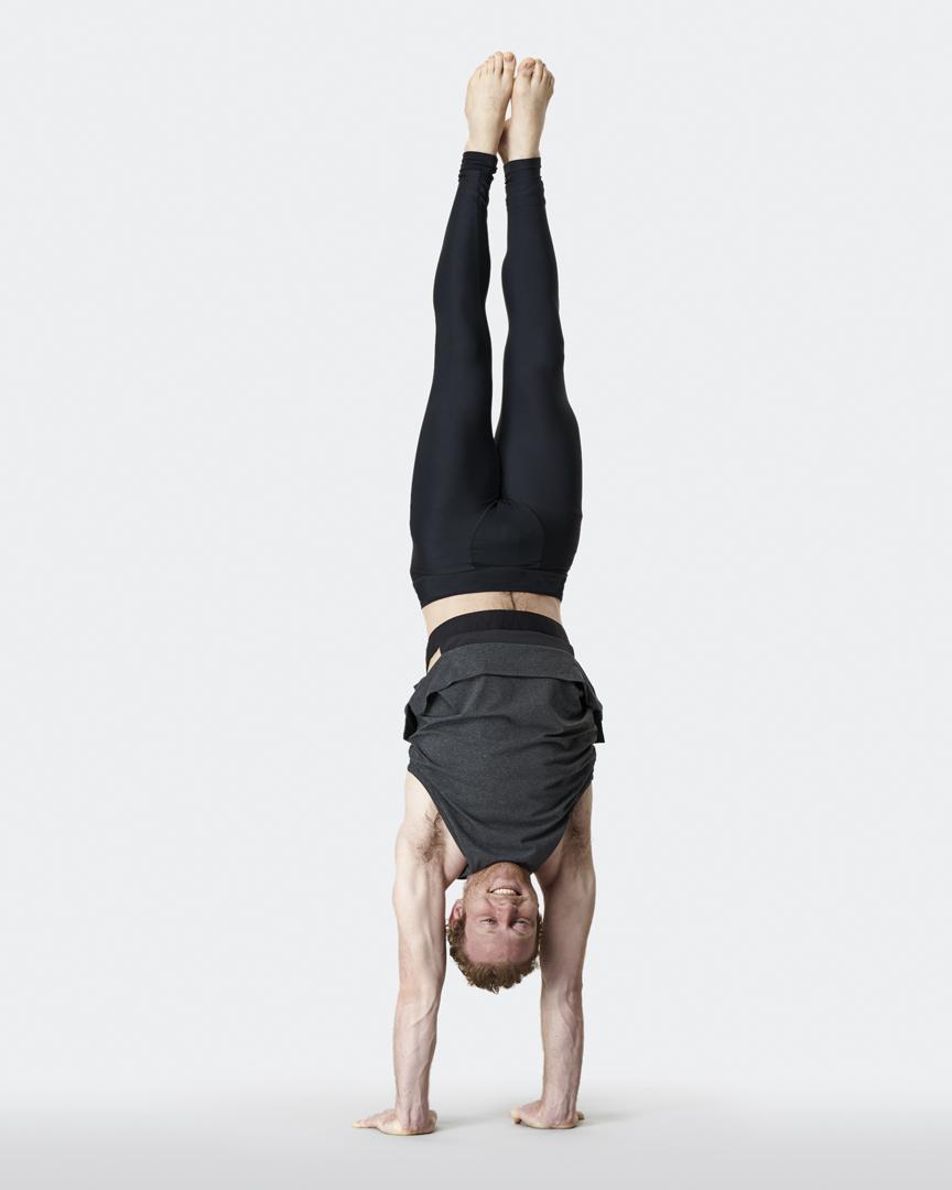 warrior addict mens yoga inversion tank in grey handstand Jacob Mellish