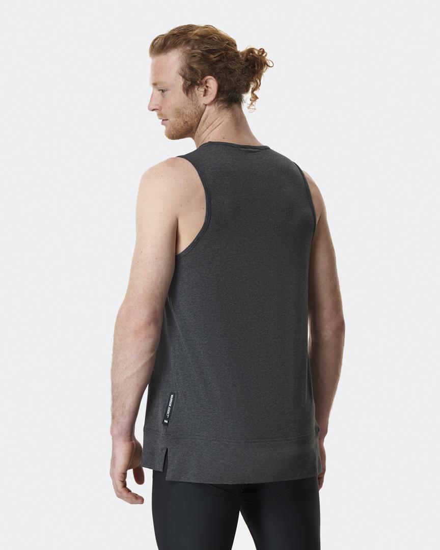 warrior addict mens yoga vest in grey model Jacob Mellish back shot