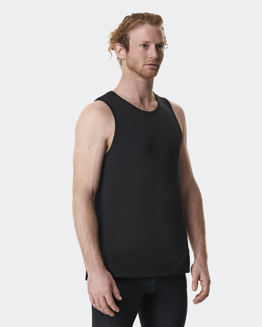 Warrior Addict Mens Yoga Inversion Tank Top In Black Front View In Detail With Mechanism Showing