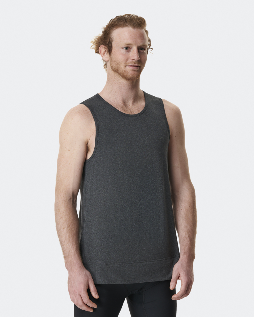 Warrior Addict Mens Yoga Inversion Tank Top In Grey Front View In Detail With Mechanism Showing