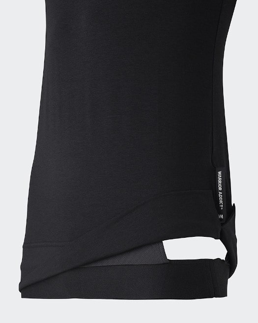 Warrior Addict Mens Yoga Inversion Tank Top In Black Side View In Detail With Mechanism Showing