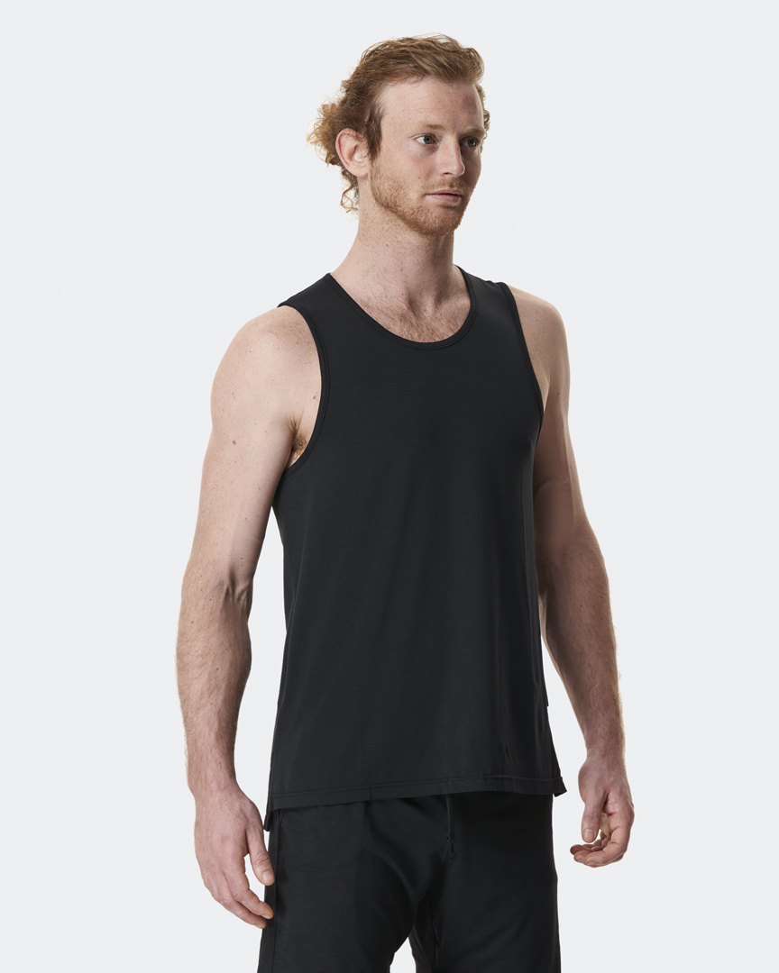 warrior addict mens yoga tops mens yoga performance vest in black front shot