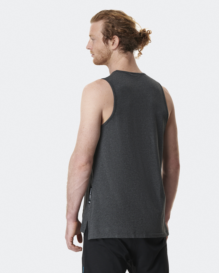 warrior addict mens yoga tops performance vest in grey model shows back of top