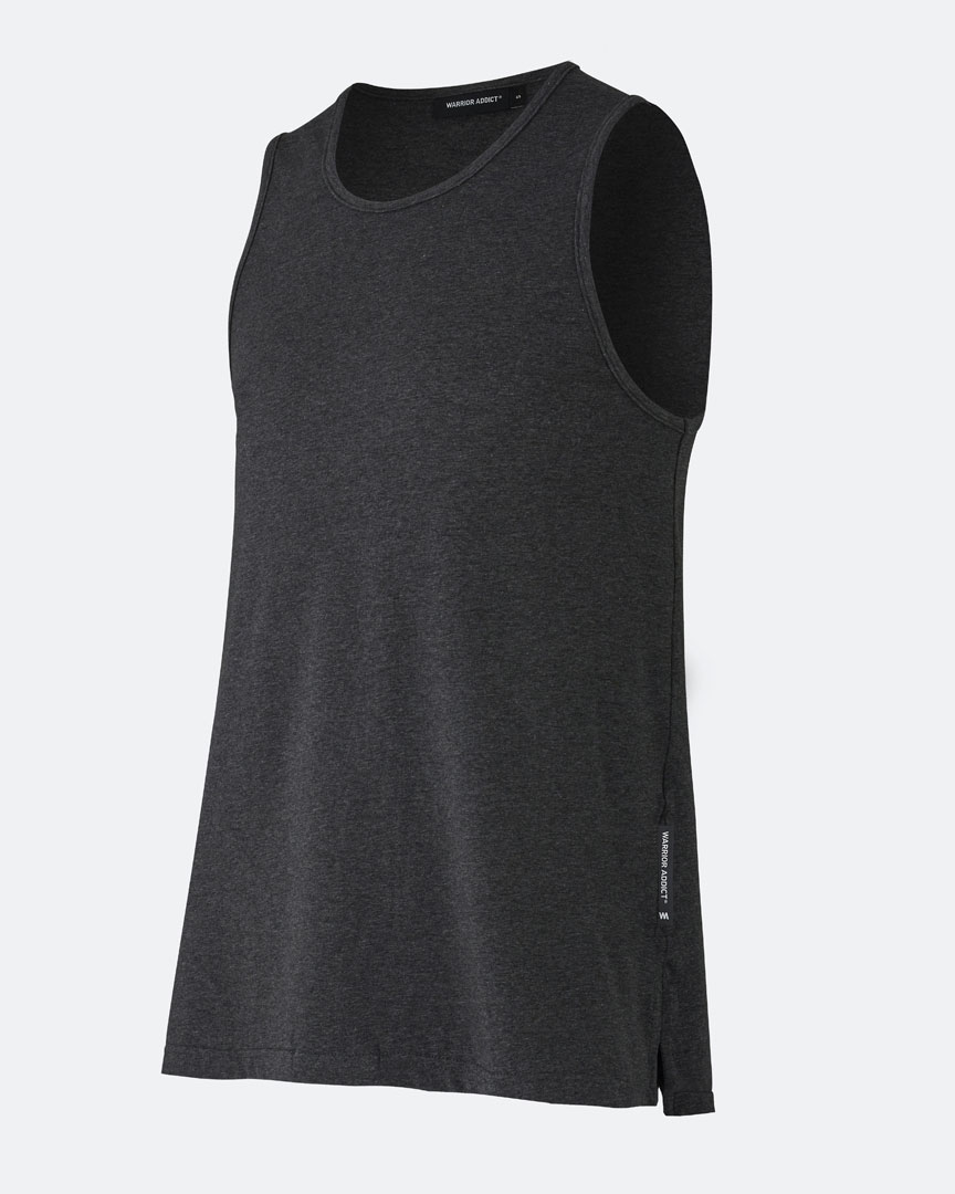 warrior addict mens yoga performance tank top in dark grey side view