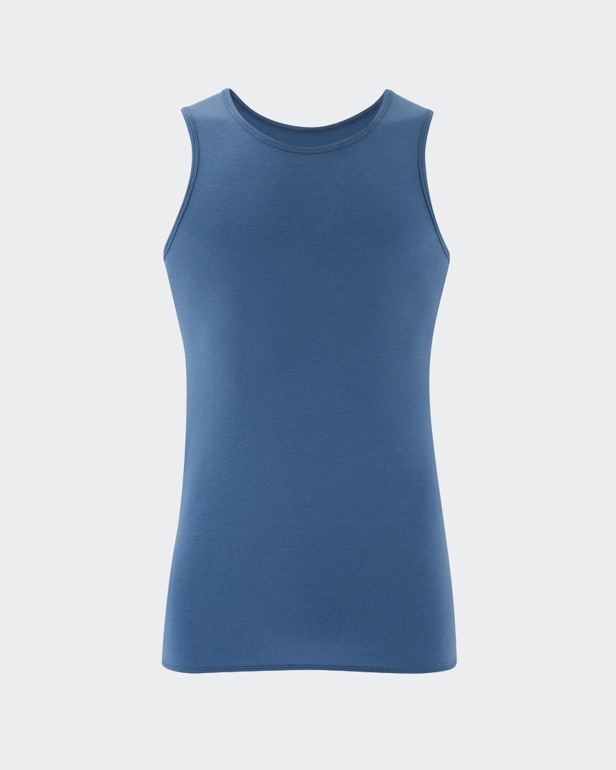Warrior Addicts Men's Yoga Performance Tank Top Blue Front View