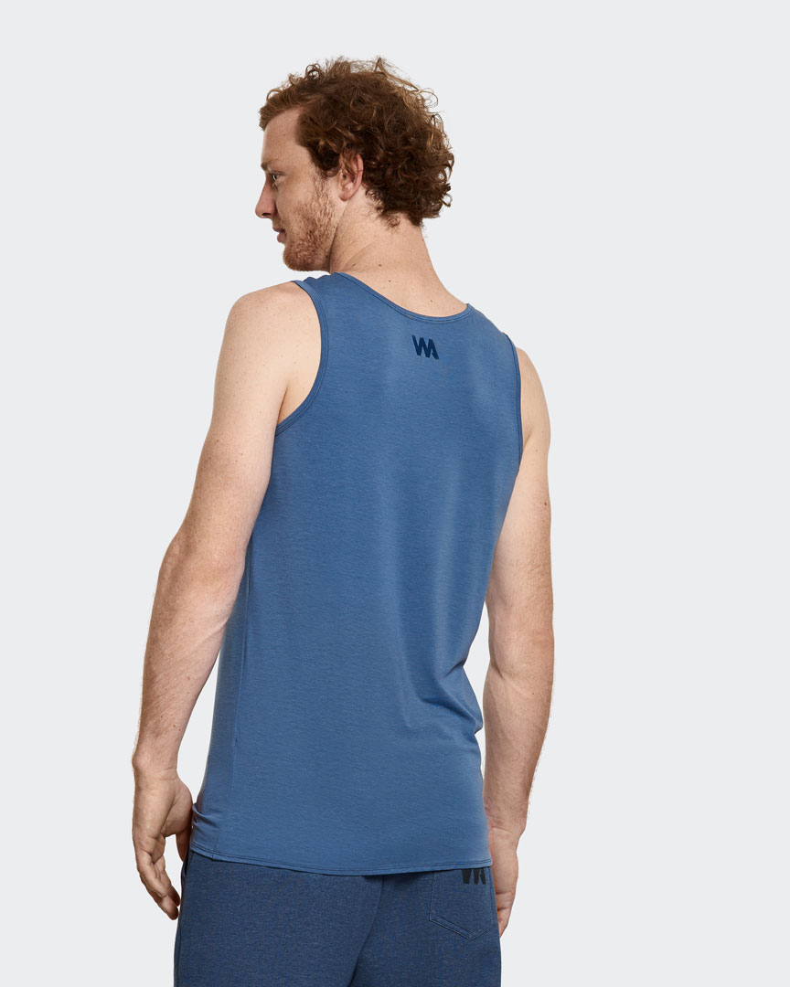 Warrior Addicts Men's Yoga Performance Tank Top Blue Back View Modelled By Jacob Mellish Yoga