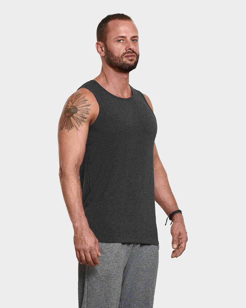Warrior Addicts Men's Yoga Performance Tank Top Grey Side View Modelled By Caleb Jude Packham Yoga