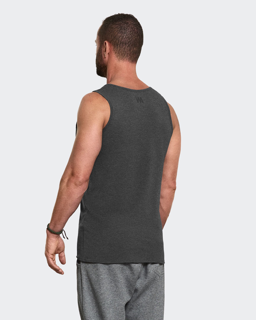 Warrior Addicts Men's Yoga Performance Tank Top Grey Back View Modelled By Caleb Jude Packham Yoga