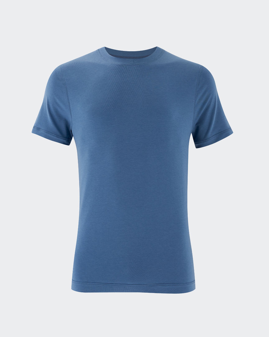warrior addict mens yoga performance t-shirt in blue front view