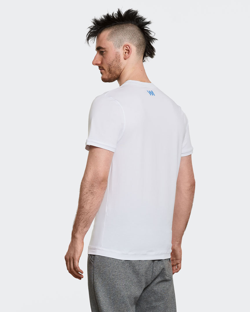 warrior addict mens yoga performance t-shirt in white back view  modelled by Ben Harrison yoga