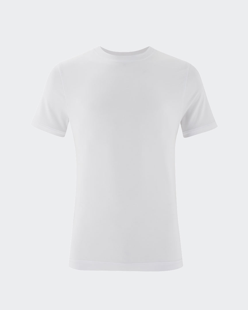 warrior addict mens yoga performance t-shirt in white front view