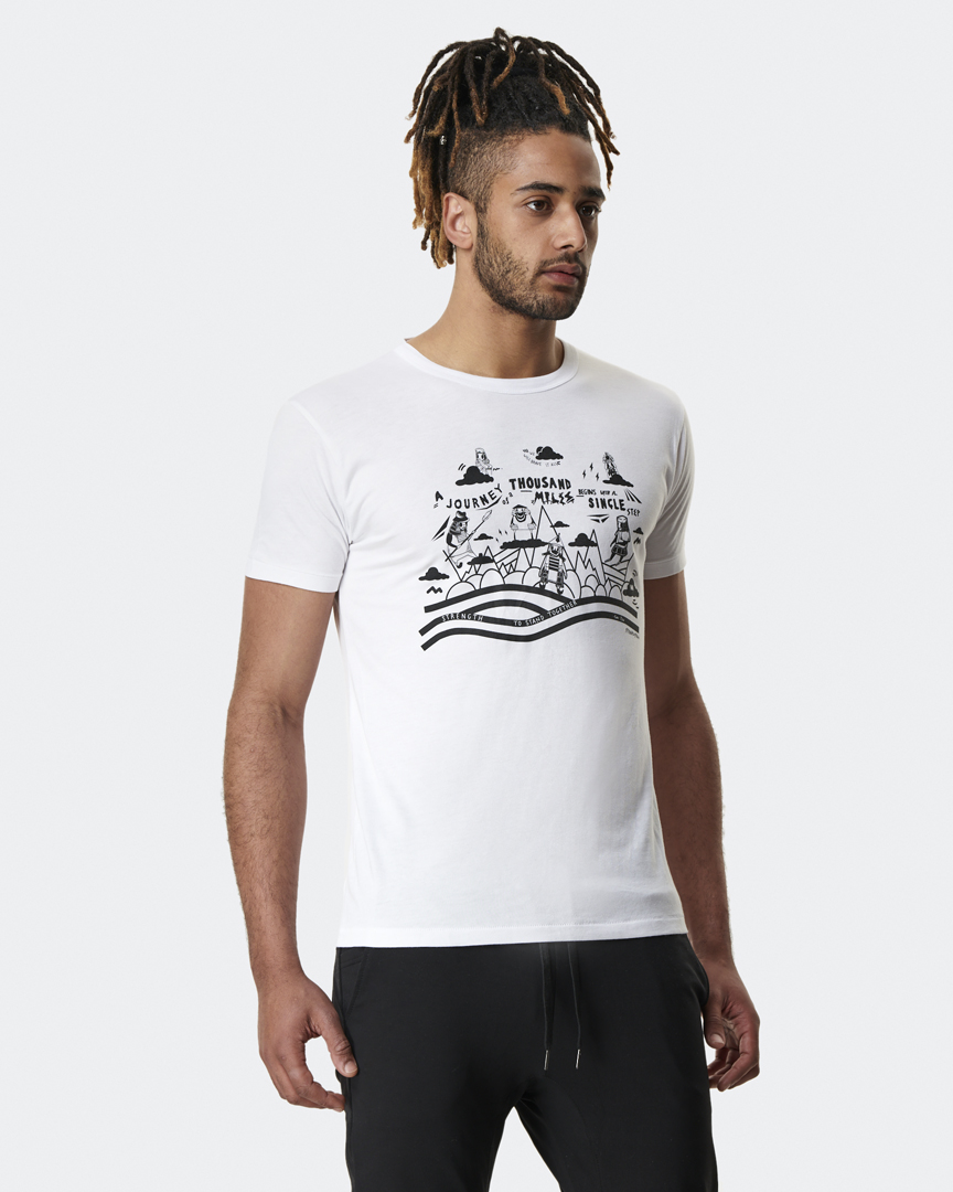 warrior addict mens yoga top step charity t shirt front model shot