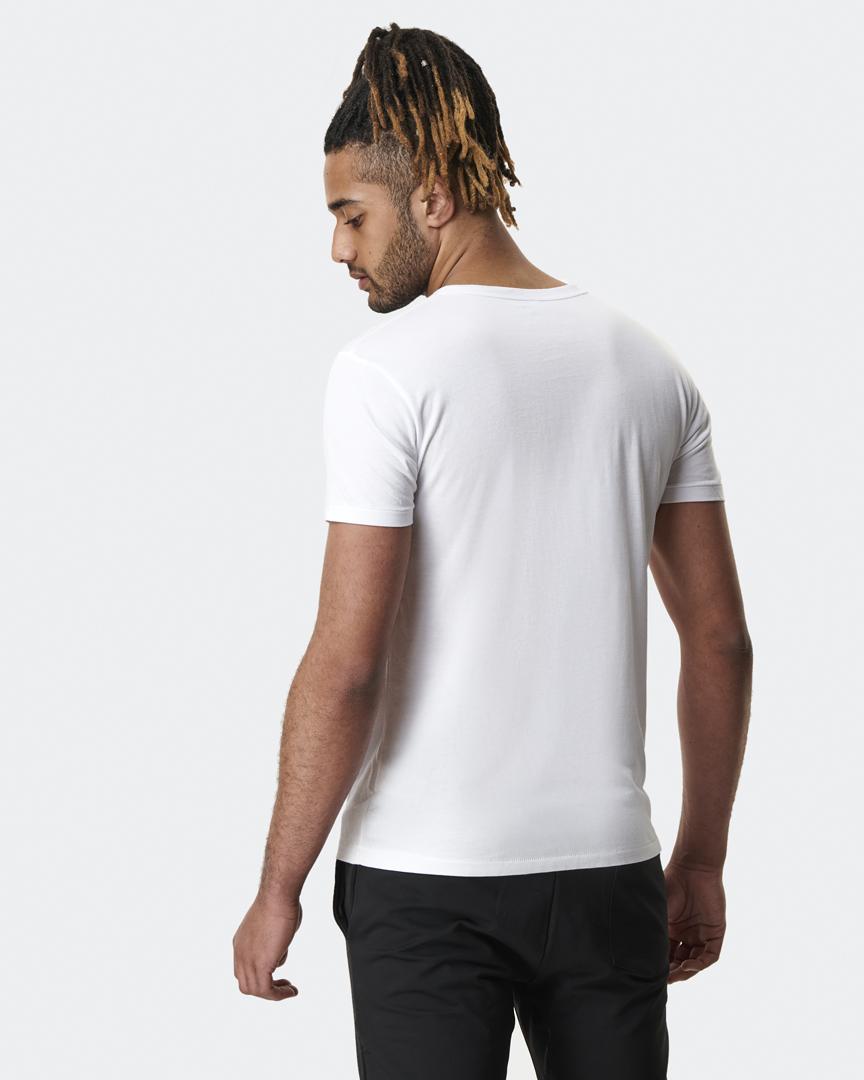 warrior addict mens yoga top step charity CALM t-shirt back model shot