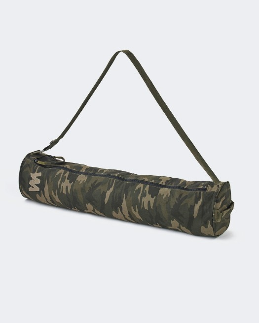 warrior addict extra large yoga mat bag in green camo print full view with logo rectangular image