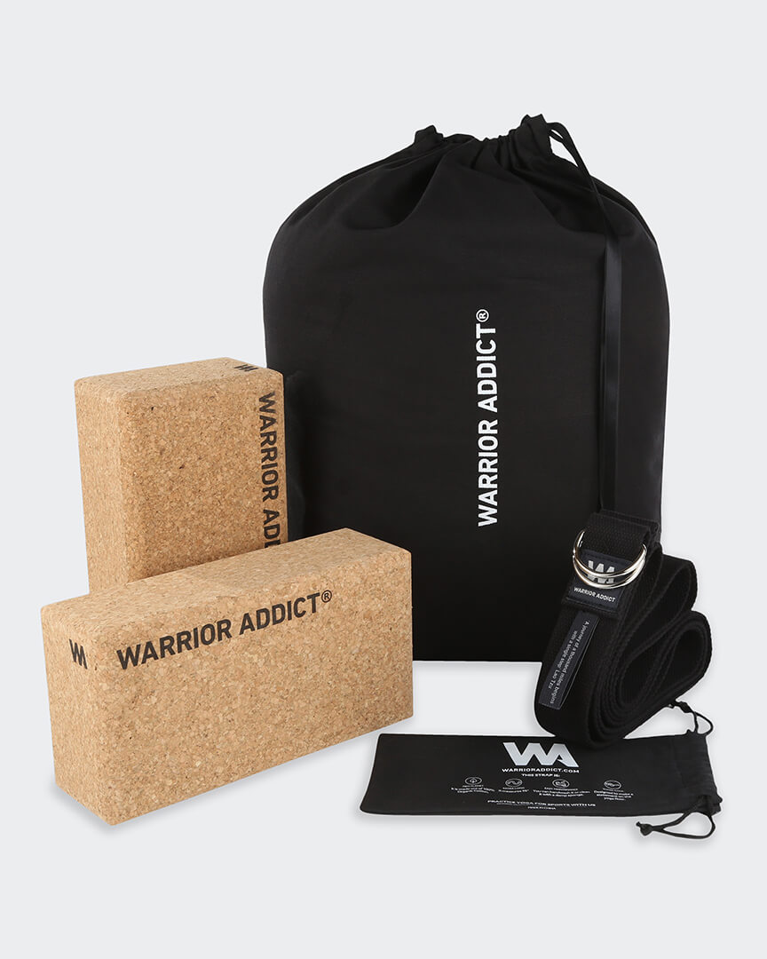 eco friendly yoga gift set for men with two cork yoga bricks and an organic cotton yoga strap