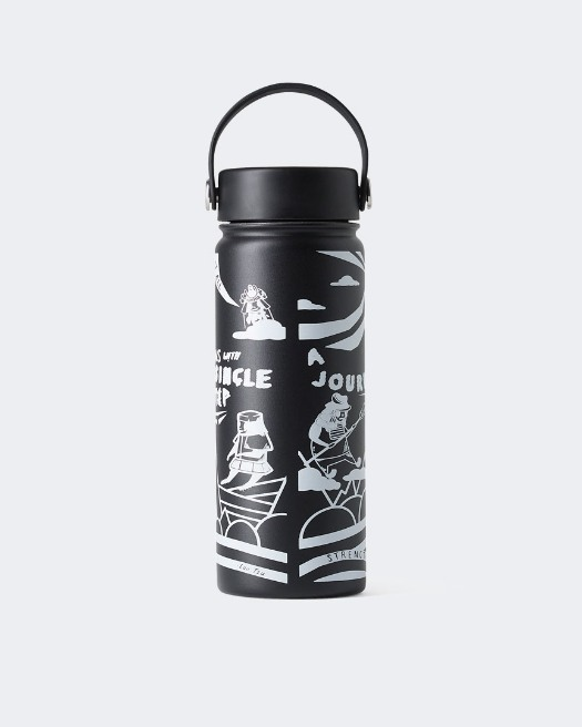 Warrior Addict Step W Hydro Water Flask in Black With A Graphic Design Warrior Print  - Reverse View