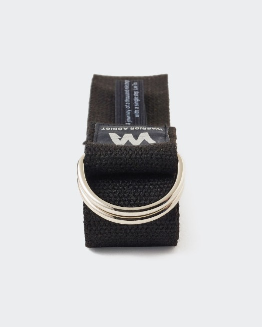 warrior addict  black eco warrior yoga belt with buckle folded with Lao Tzu quote showing