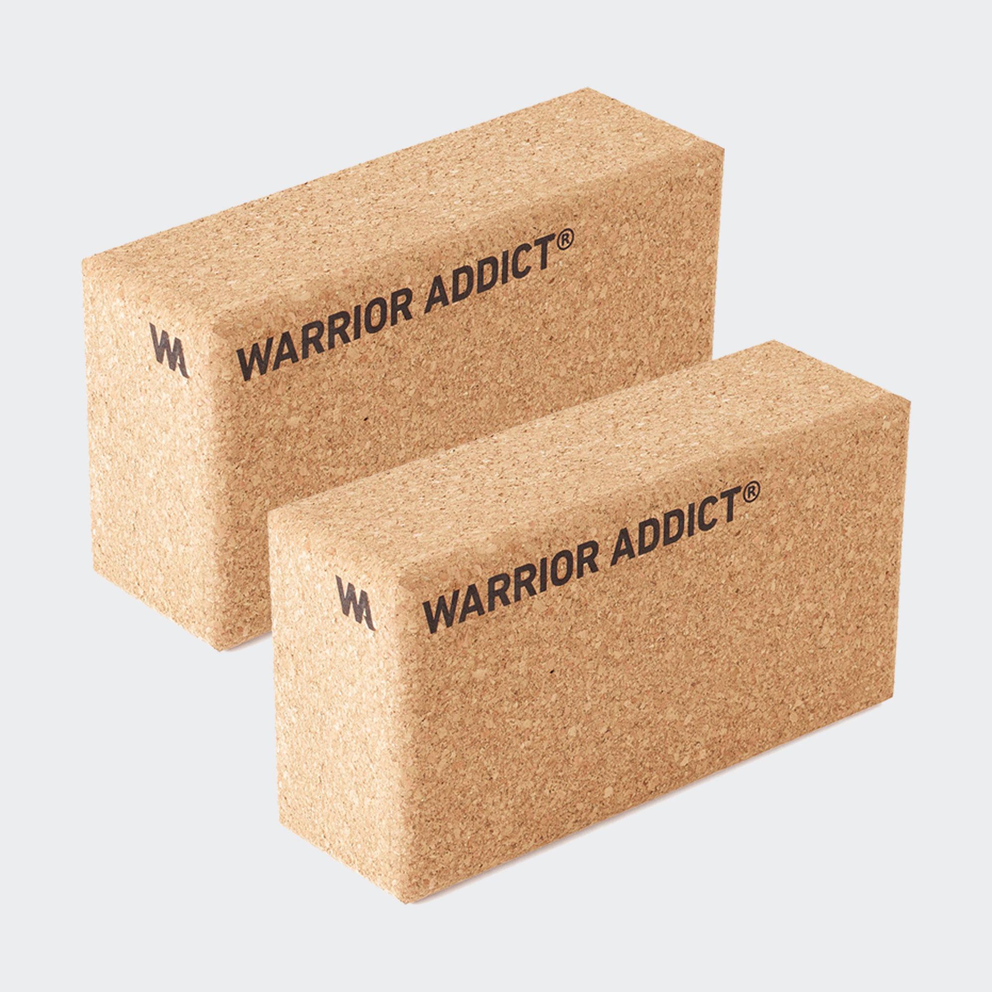 warrior addict set of two cork yoga blocks side view
