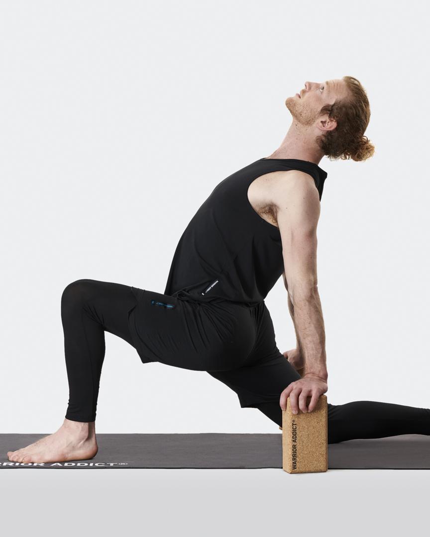 warrior addict cork yoga block set of 2 demonstrated by Jacob Mellish