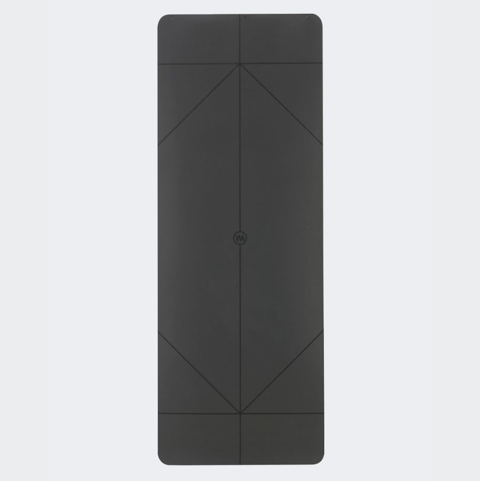 The Warrior Yoga Mat  For Men By Warrior Addict In Black Rubber With Alignment Lines Front