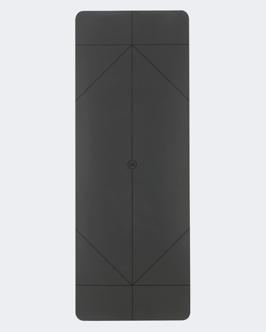 The Warrior Yoga Mat For Men By Warrior Addict In Black Rubber With Alignment Lines Front  Rectangle