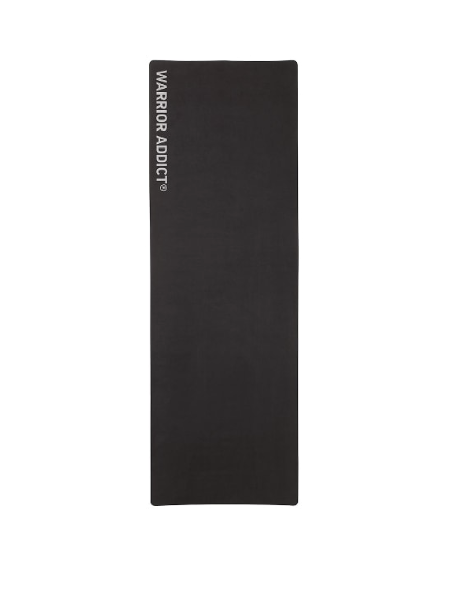 Pre-loved micro fibre and rubber warrior addict yoga mat used for photoshoots or events