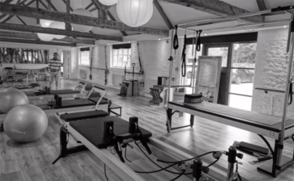 Black & White Image of a Pilates Studio