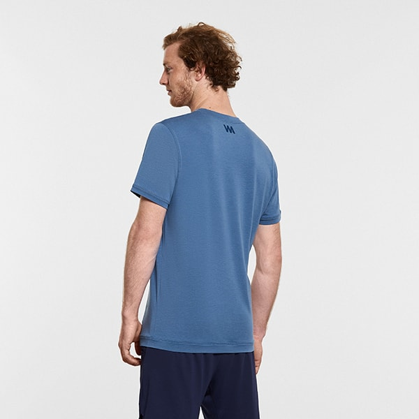 Men's Yoga Performance Blue T-Shirt - Reverse