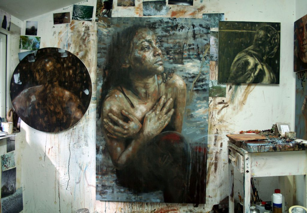 Studio-chaos-with-Consciousness-and-Clay-painting