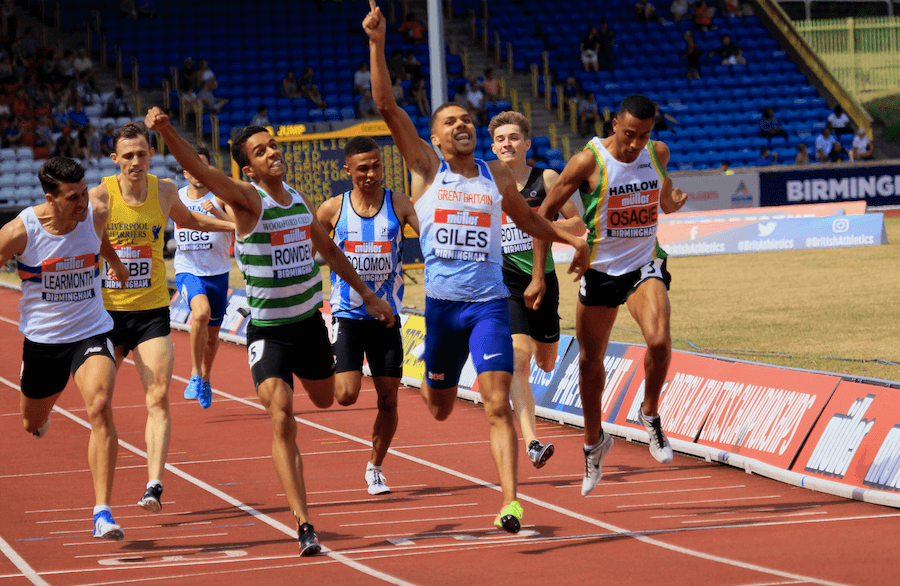 Elliott Giles wins the 800m at the British Championships in Birmingham in 2018. Photo: MV4R Photography